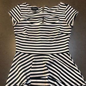 Bebe Peplum Black&White Striped Top
